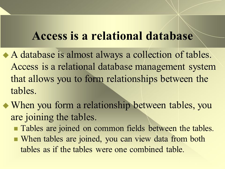 Access is a relational database