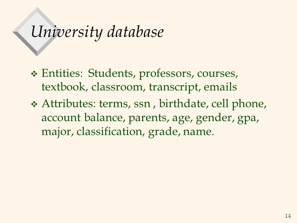 University database Entities: Students, professors, courses, textbook, classroom, transcript, emails.