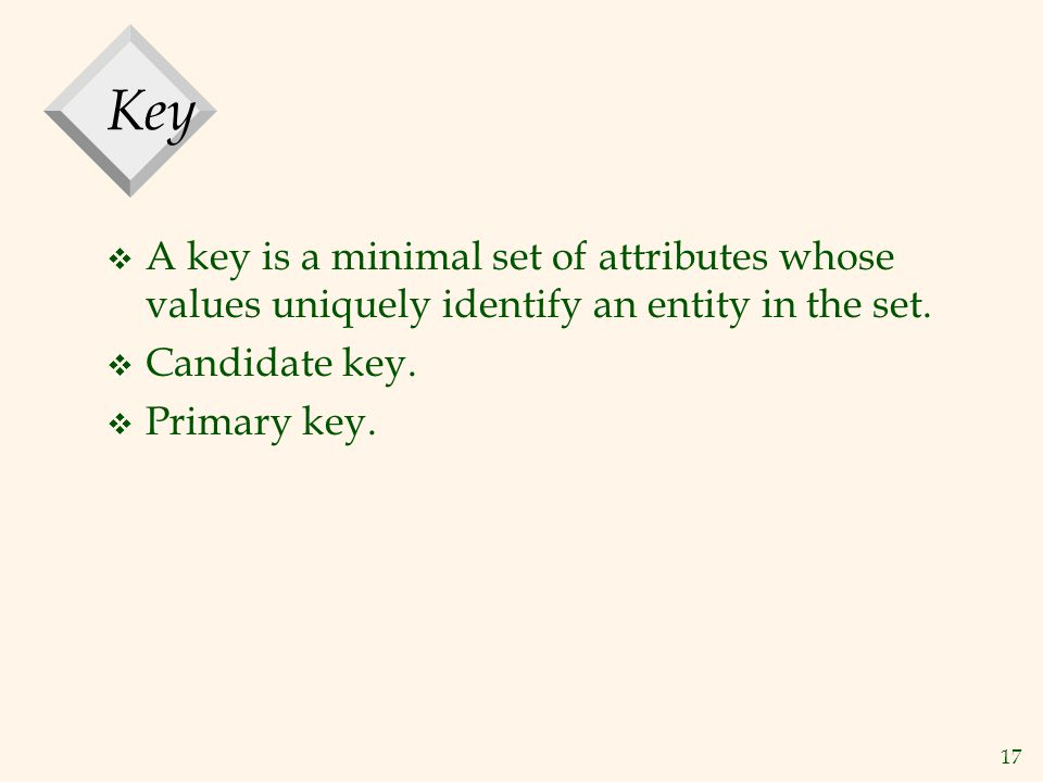 Key A key is a minimal set of attributes whose values uniquely identify an entity in the set. Candidate key.
