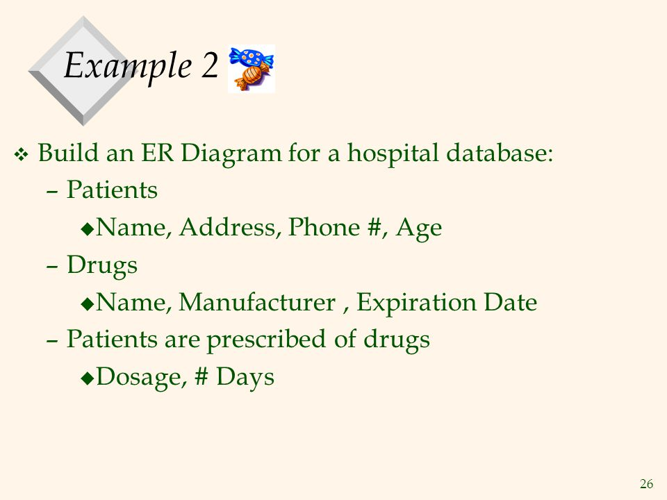 Example 2 Build an ER Diagram for a hospital database: Patients