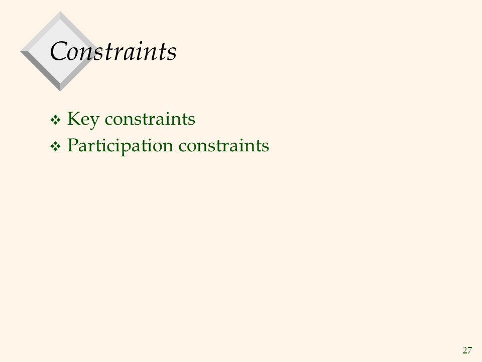 Constraints Key constraints Participation constraints