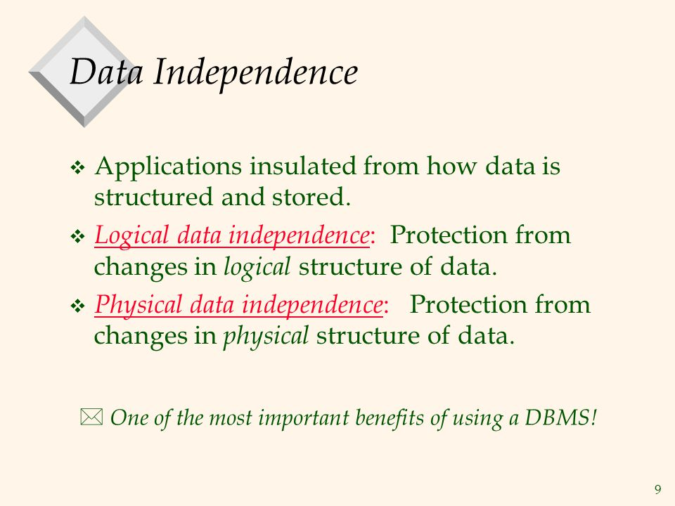 Data Independence Applications insulated from how data is structured and stored.