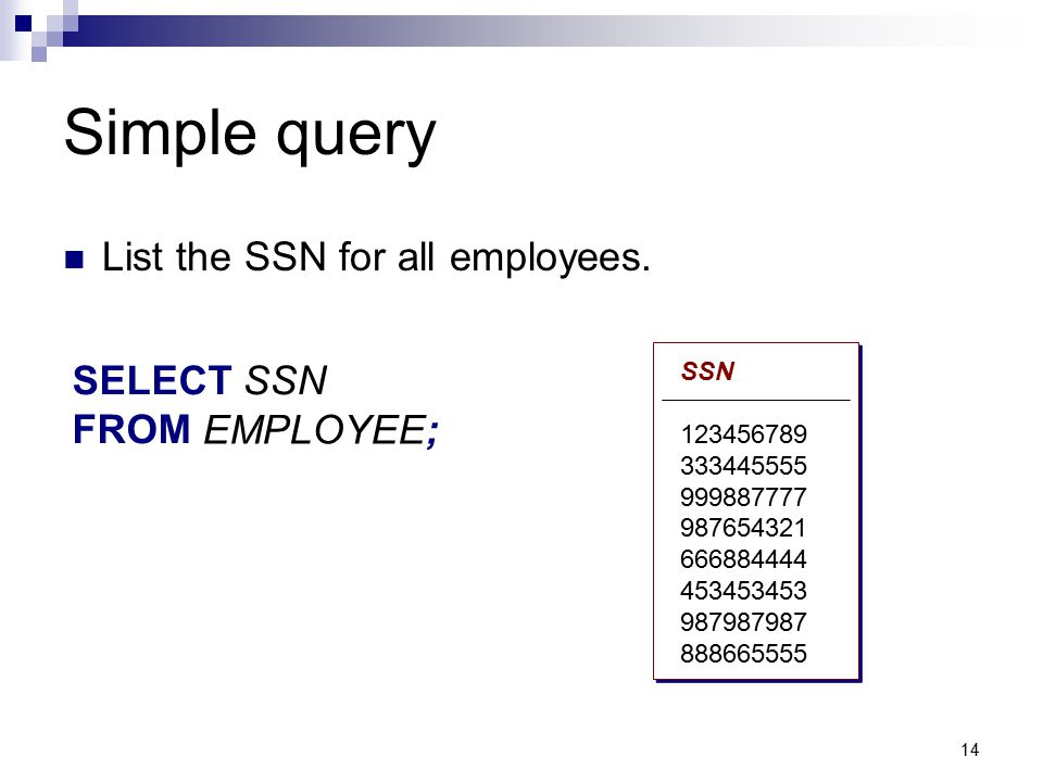 Simple query List the SSN for all employees. SELECT SSN SELECT FROM