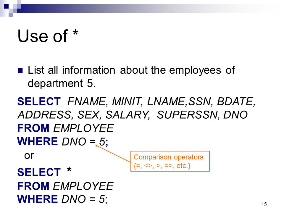 Use of * List all information about the employees of department 5.