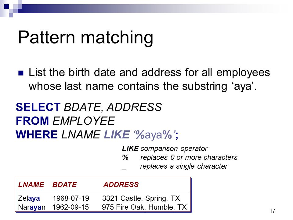 Pattern matching List the birth date and address for all employees whose last name contains the substring 'aya'.