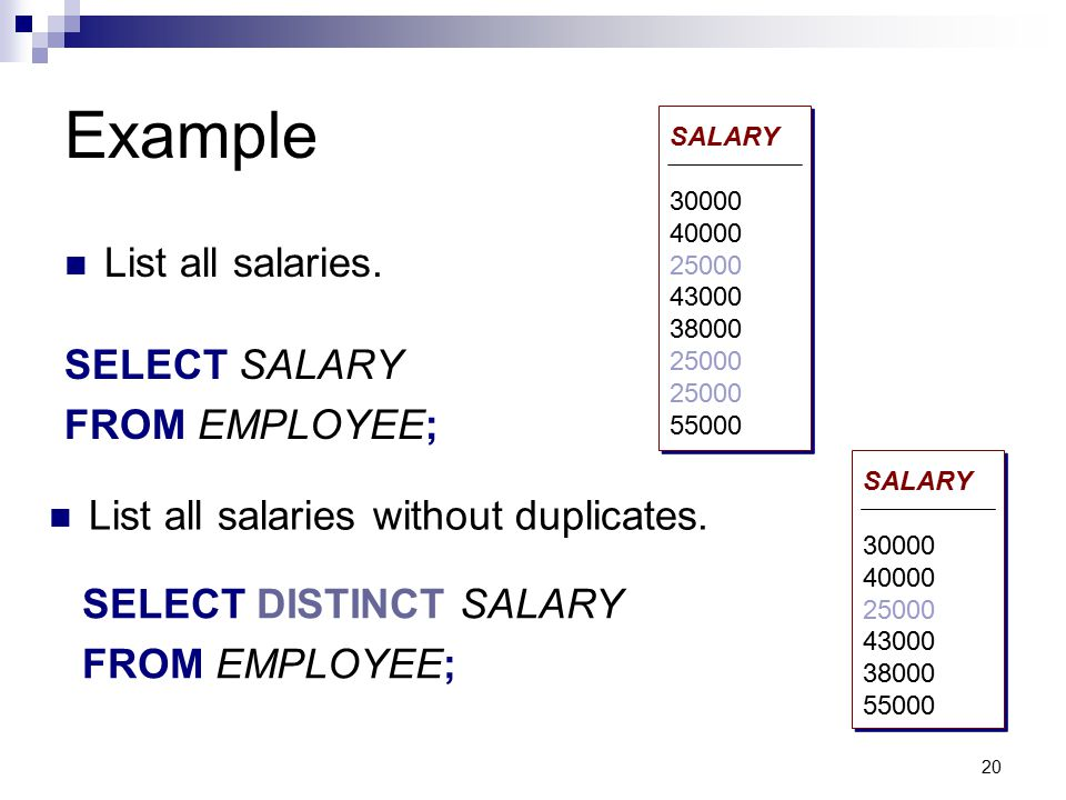 Example List all salaries. SELECT SALARY FROM EMPLOYEE;
