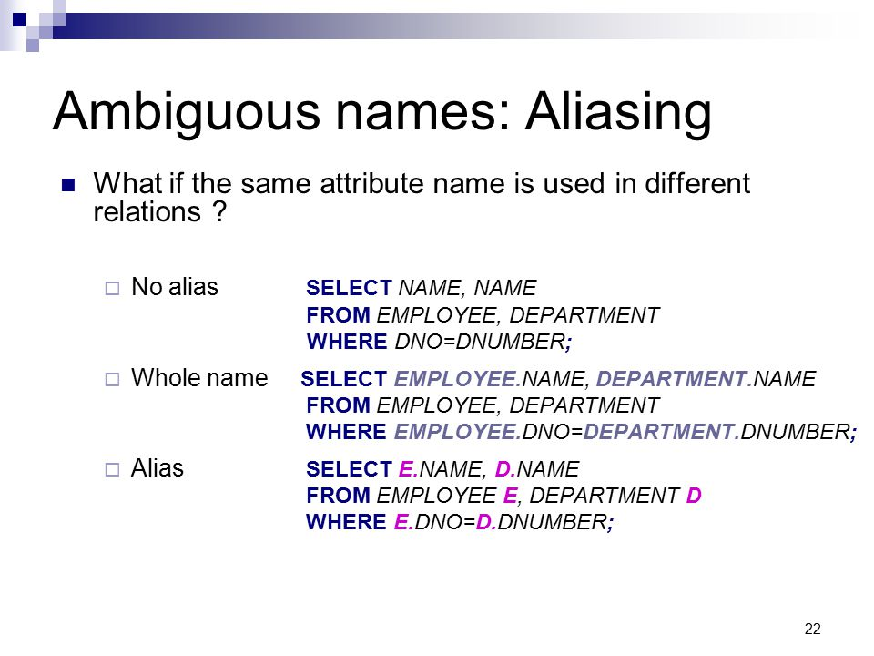 Ambiguous names: Aliasing