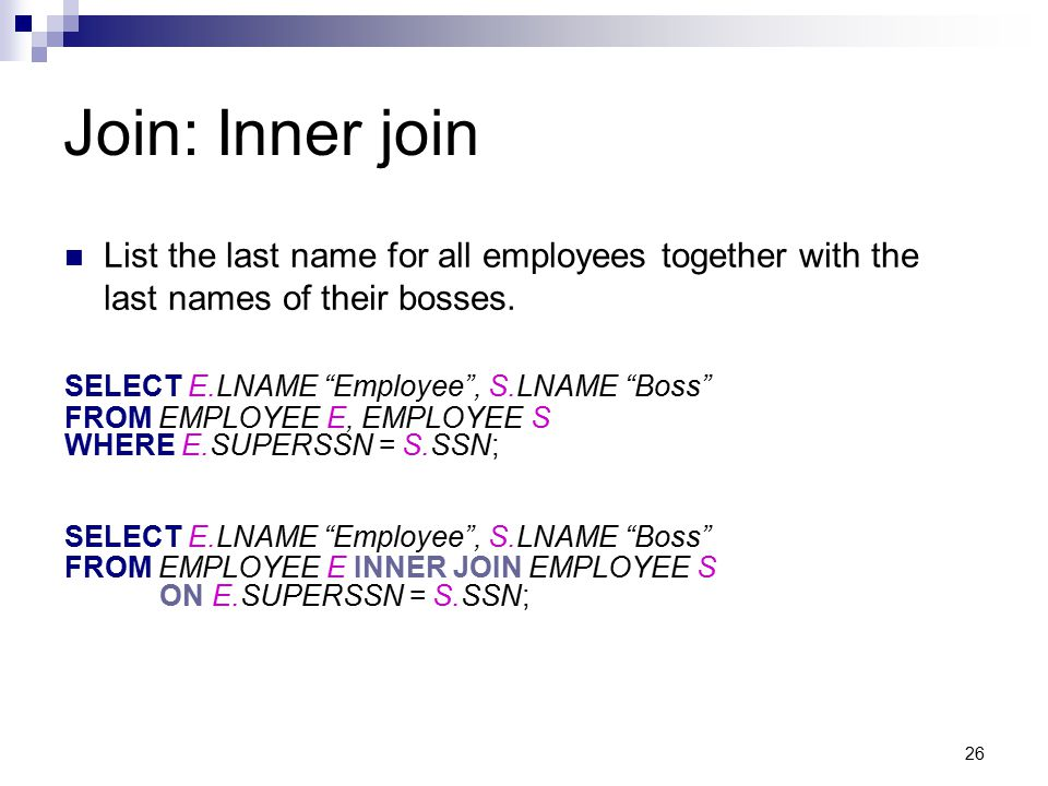 Join: Inner join List the last name for all employees together with the last names of their bosses.