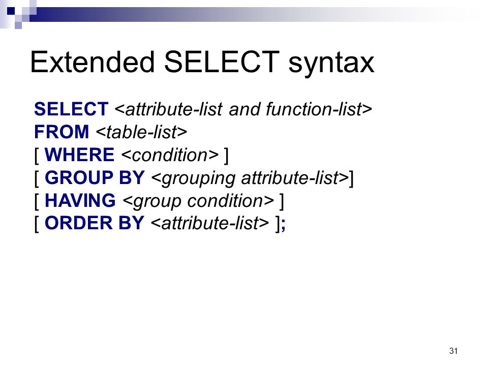 Extended SELECT syntax
