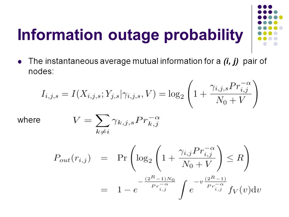 Information outage probability