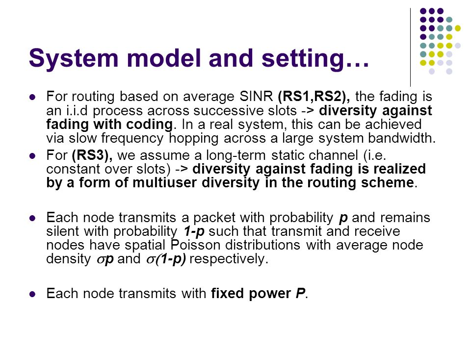 System model and setting…