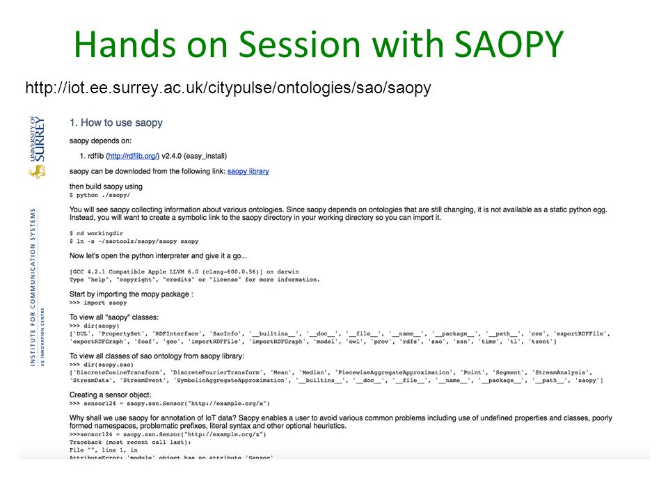Hands on Session with SAOPY