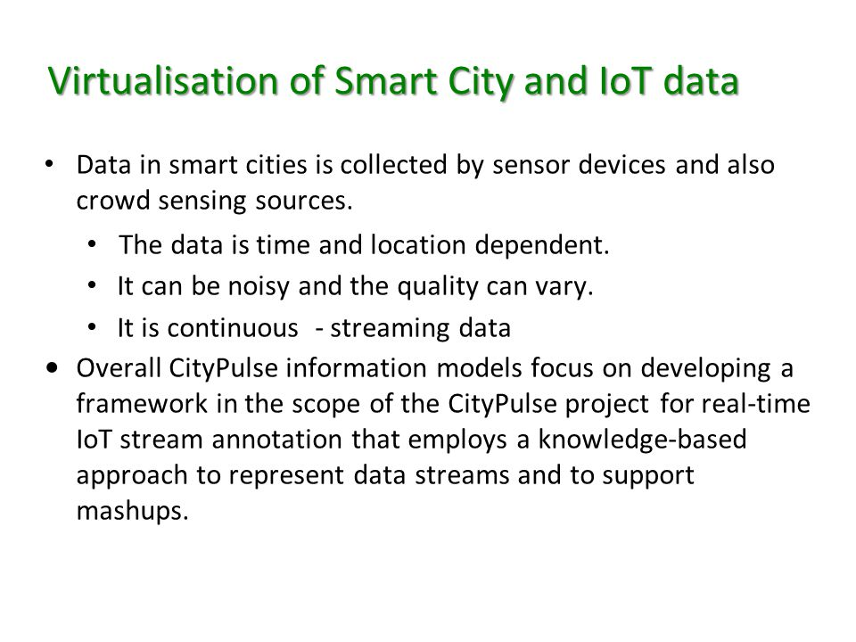 Virtualisation of Smart City and IoT data