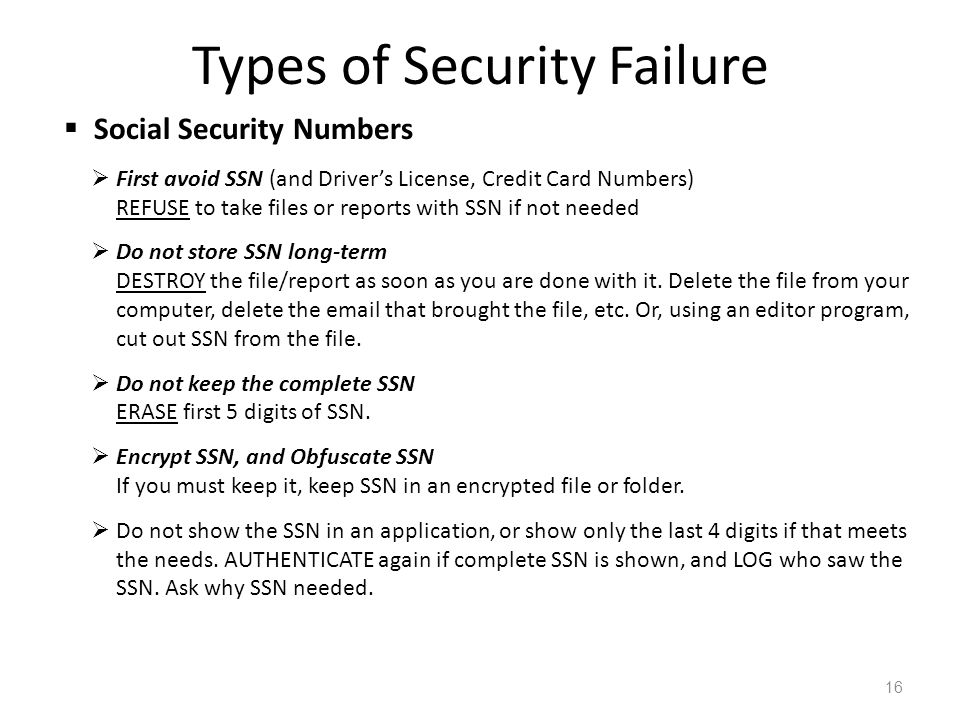 Types of Security Failure