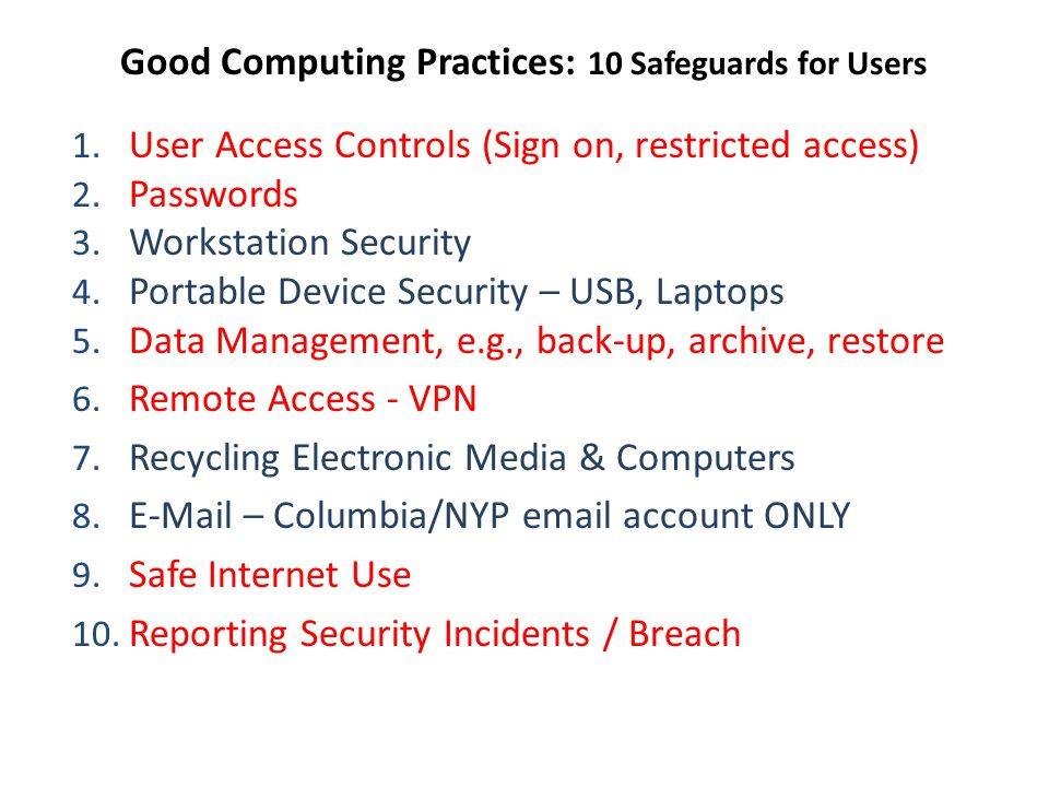 Good Computing Practices: 10 Safeguards for Users