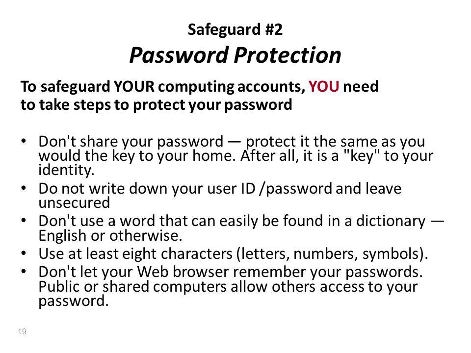 Safeguard #2 Password Protection
