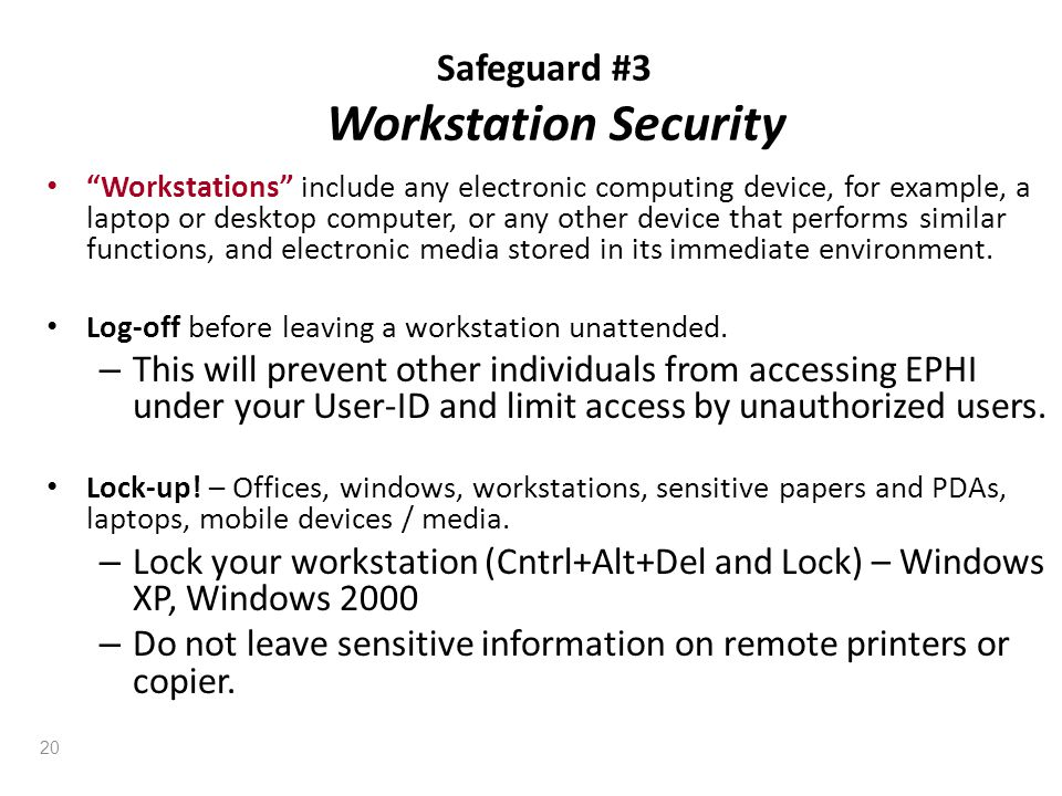 Safeguard #3 Workstation Security