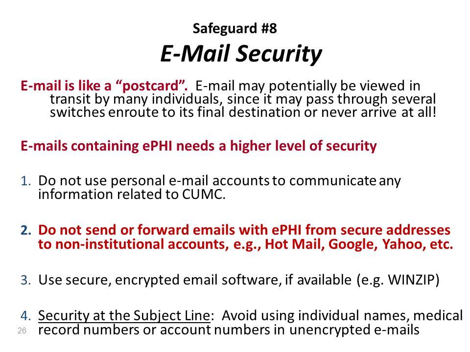 Safeguard #8 E-Mail Security