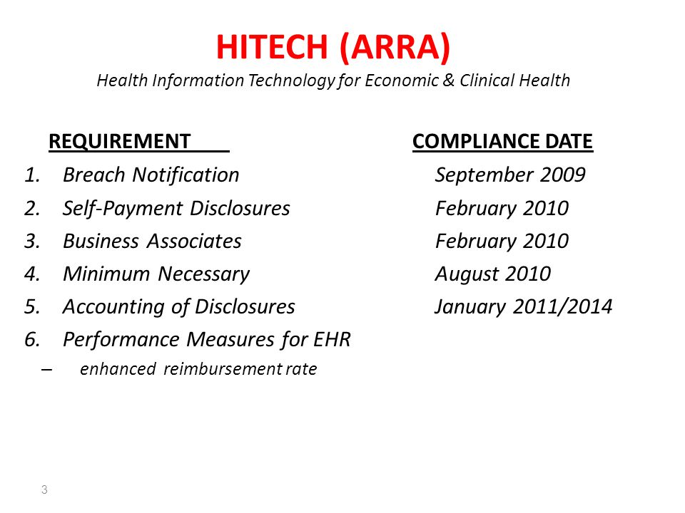 REQUIREMENT COMPLIANCE DATE