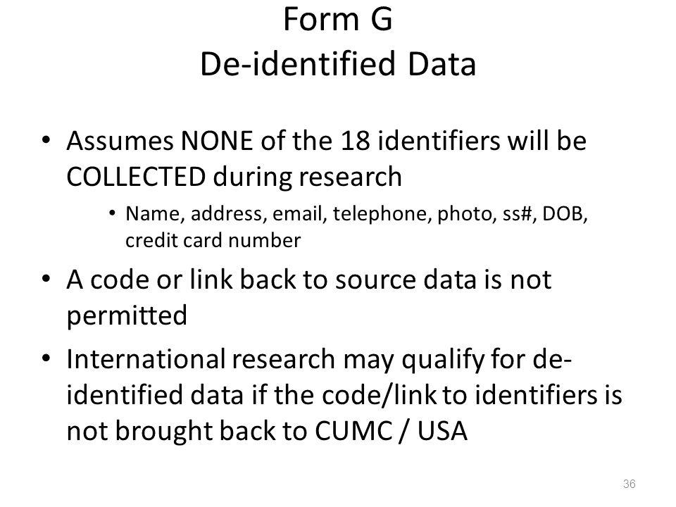 Form G De-identified Data