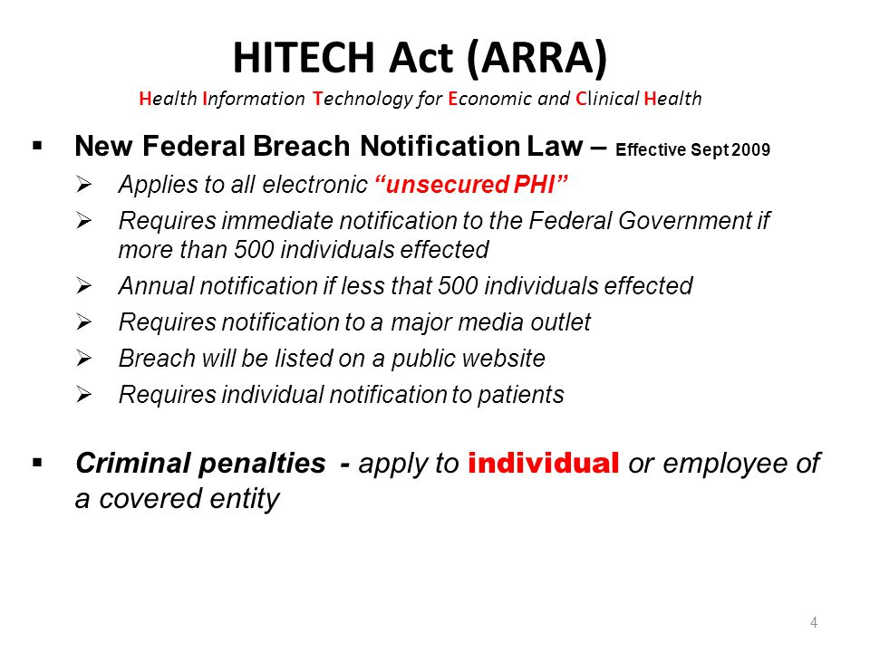 HITECH Act (ARRA) Health Information Technology for Economic and Clinical Health