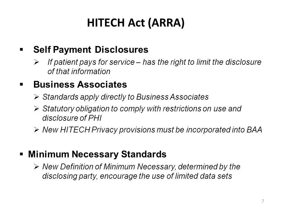 HITECH Act (ARRA) Self Payment Disclosures Business Associates