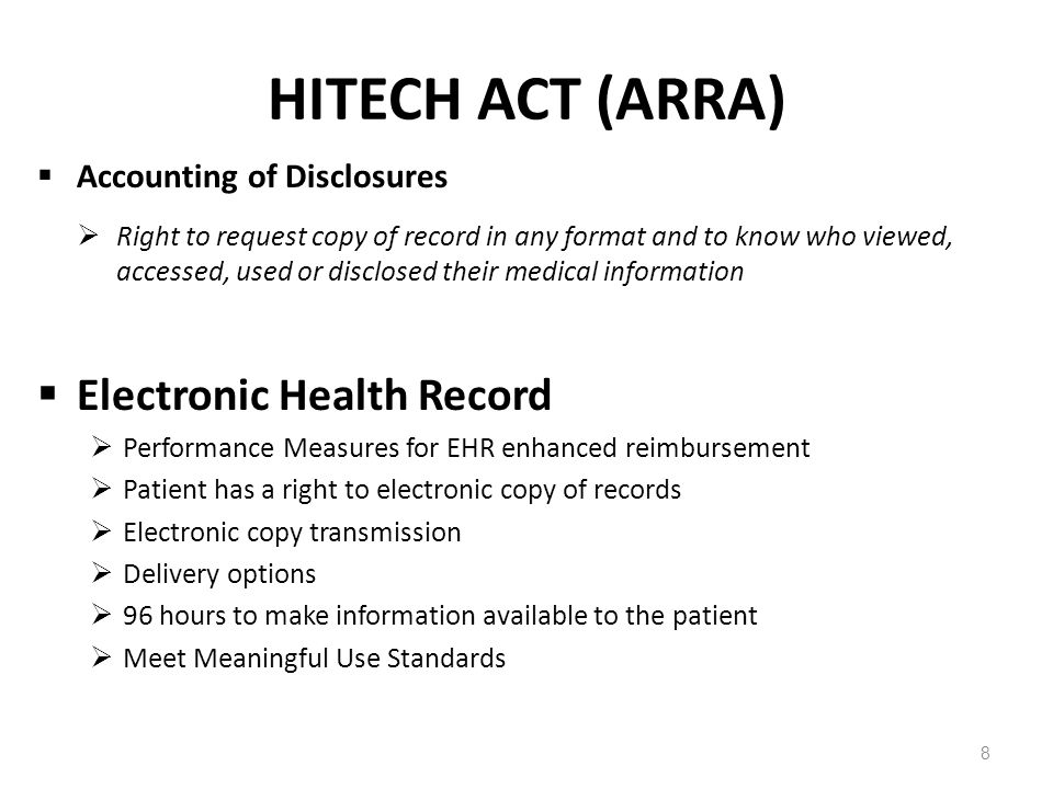 HITECH ACT (ARRA) Electronic Health Record Accounting of Disclosures