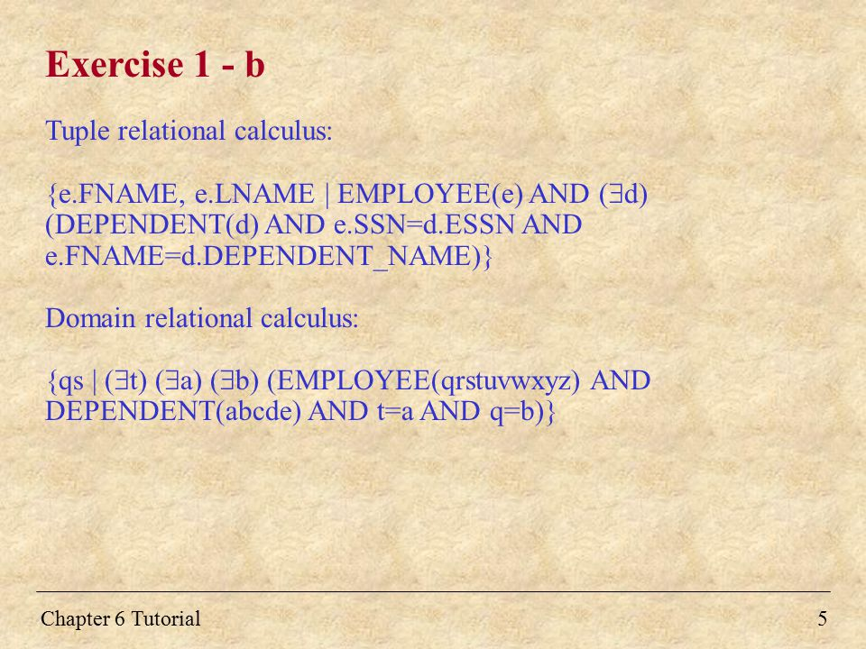Exercise 1 - b Tuple relational calculus: