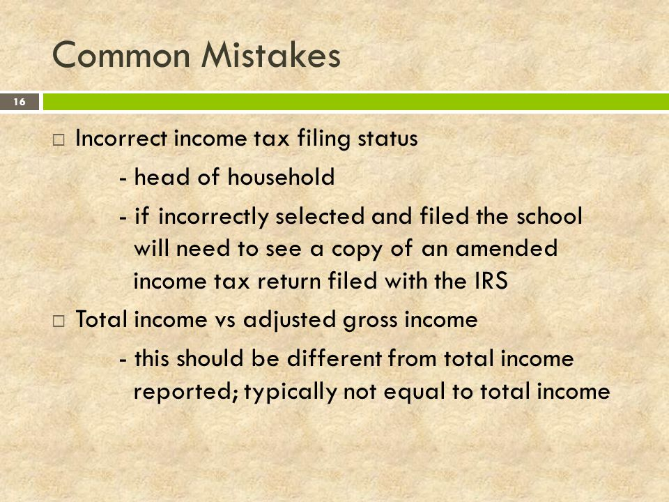 Common Mistakes Incorrect income tax filing status - head of household