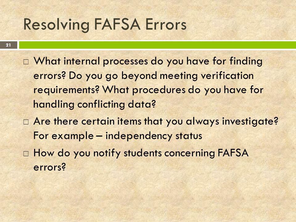 Resolving FAFSA Errors