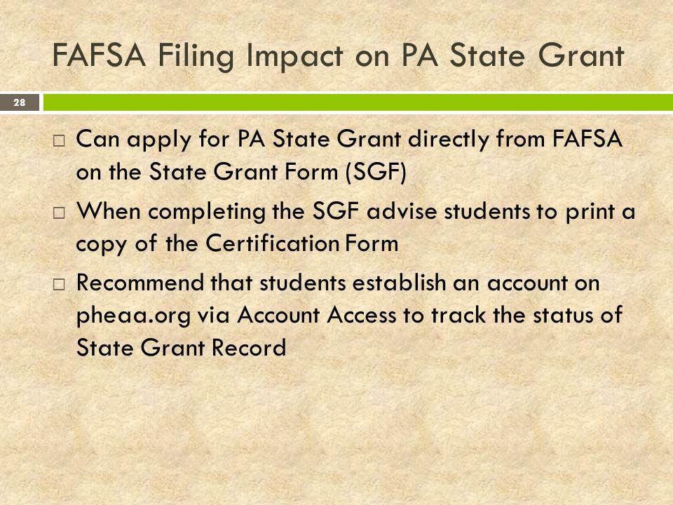 FAFSA Filing Impact on PA State Grant