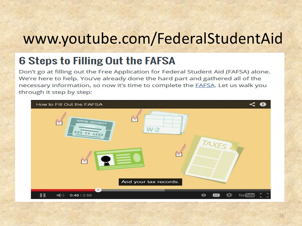 www.youtube.com/FederalStudentAid http://www.ed.gov/blog/2014/01/6-steps-to-filling-out-the-fafsa/
