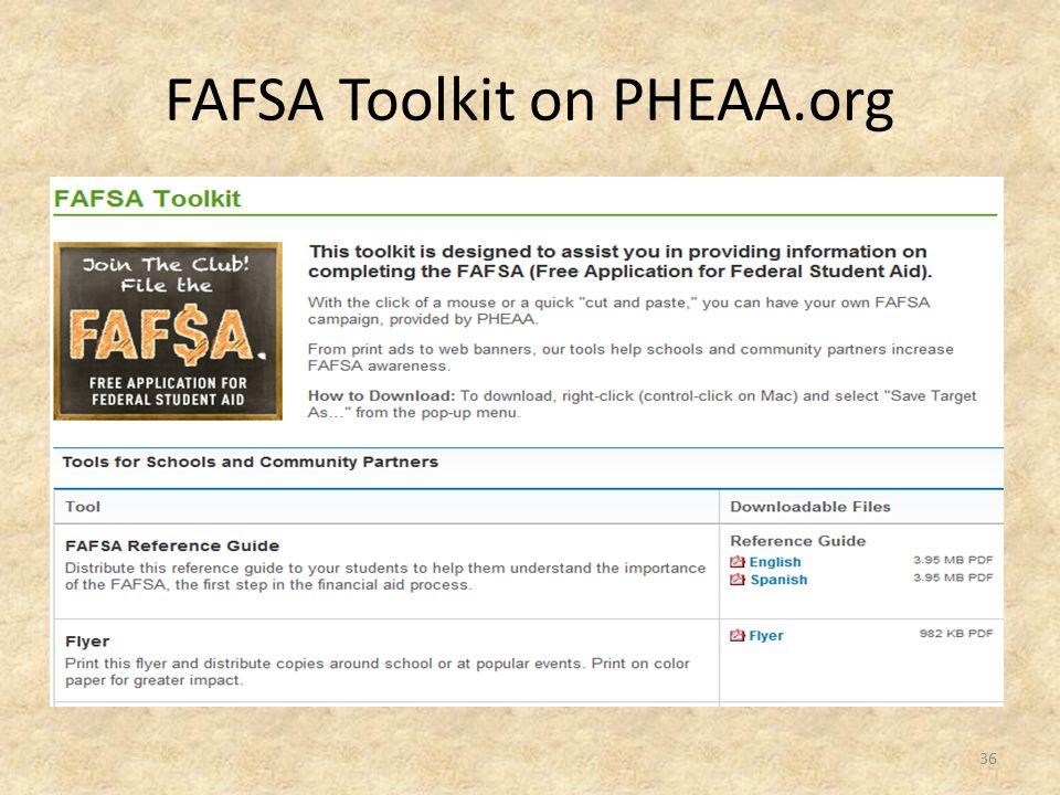 FAFSA Toolkit on PHEAA.org