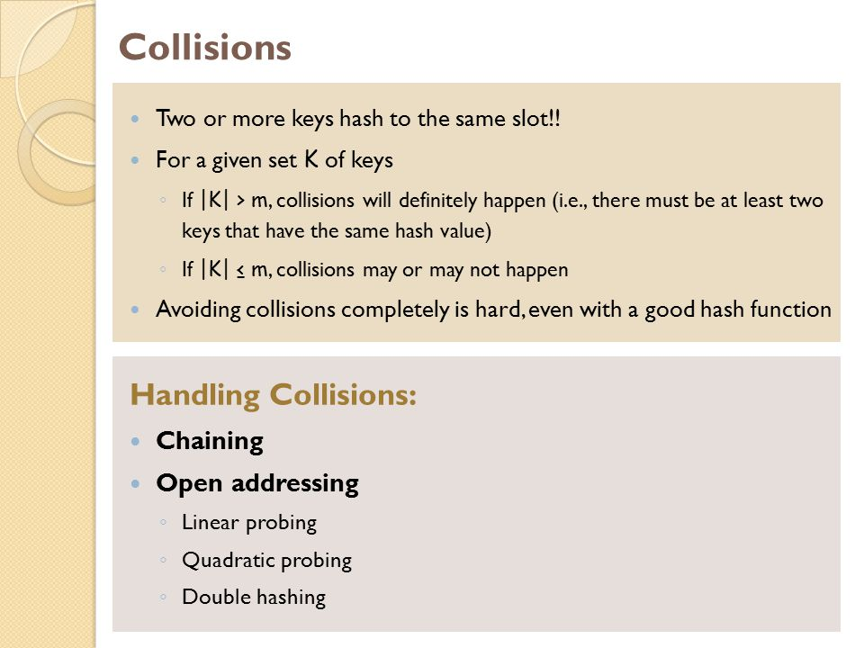 Collisions Handling Collisions: Chaining Open addressing