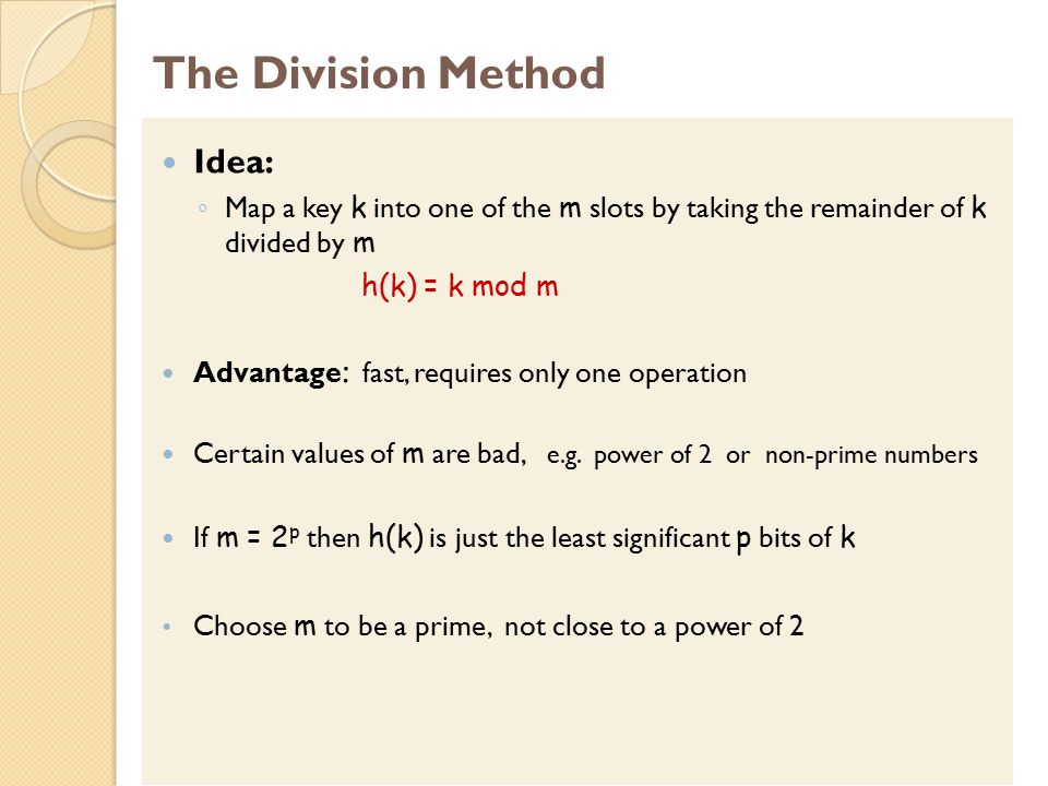 The Division Method Idea: