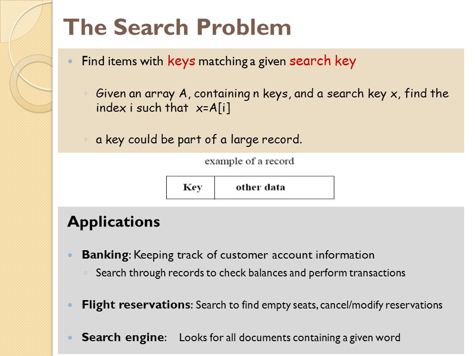 The Search Problem Applications