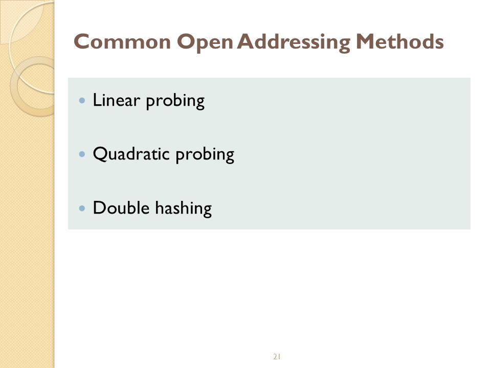 Common Open Addressing Methods
