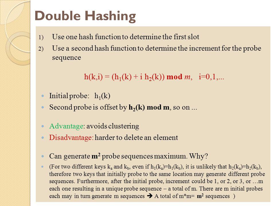 h(k,i) = (h1(k) + i h2(k)) mod m, i=0,1,...