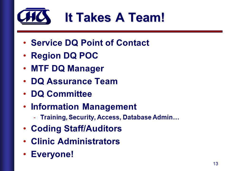 It Takes A Team! Service DQ Point of Contact Region DQ POC