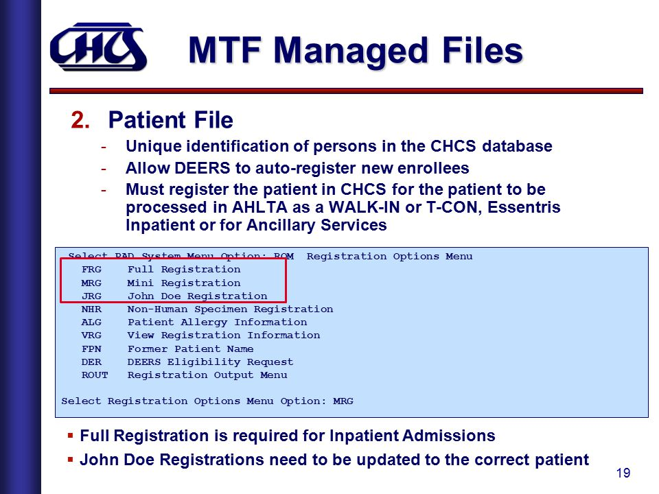 MTF Managed Files Patient File