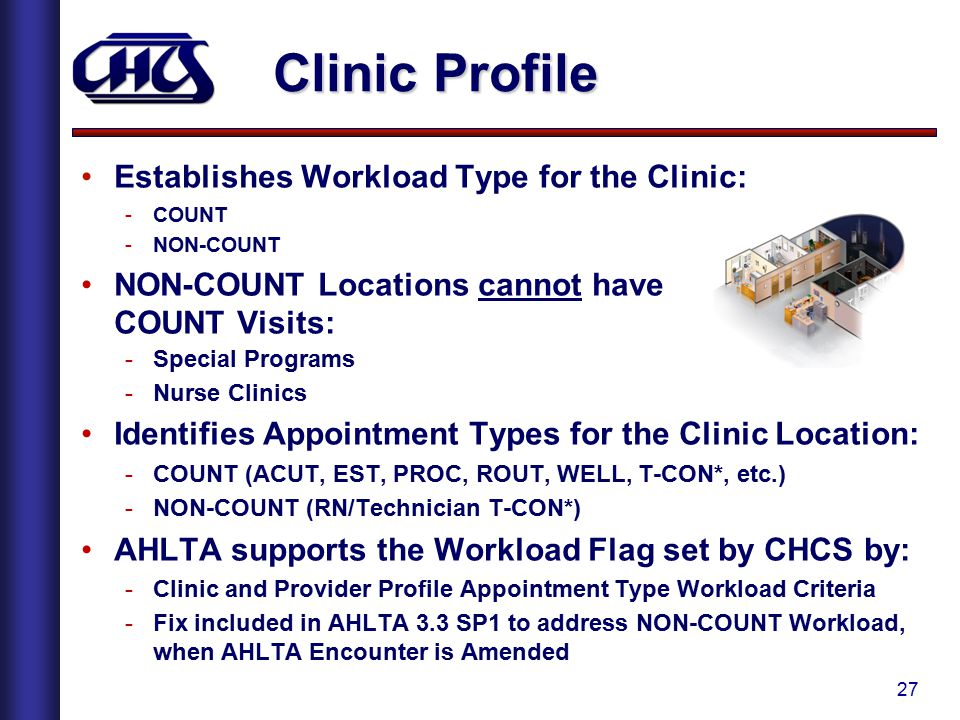 Clinic Profile Establishes Workload Type for the Clinic: