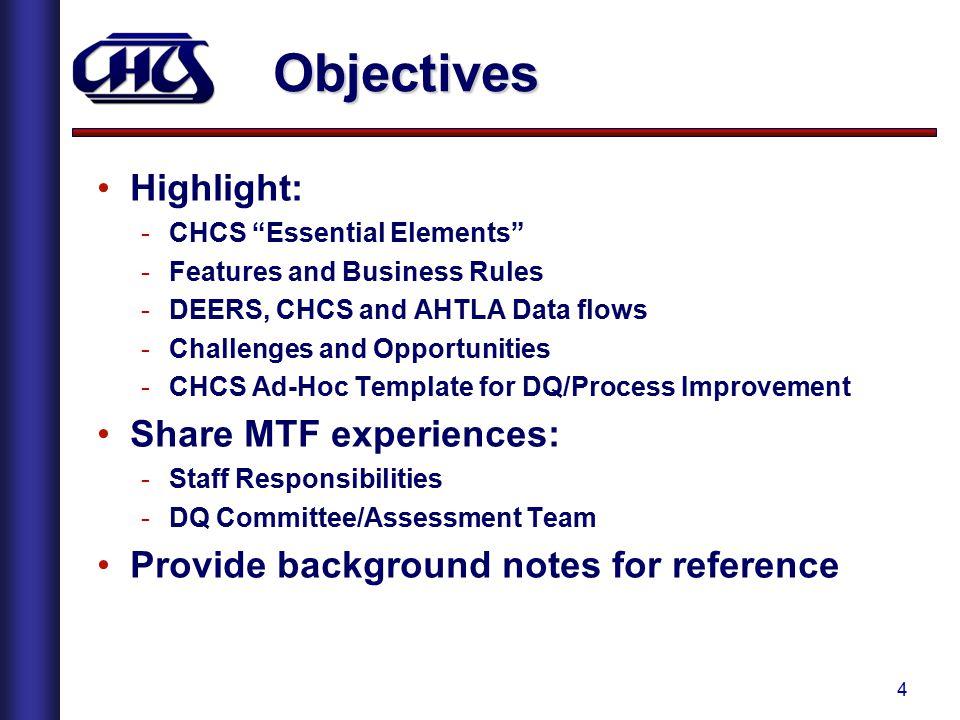 Objectives Highlight: Share MTF experiences: