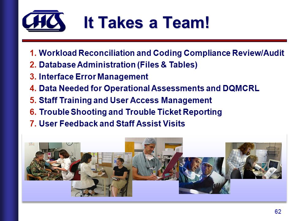 It Takes a Team! Workload Reconciliation and Coding Compliance Review/Audit. Database Administration (Files & Tables)