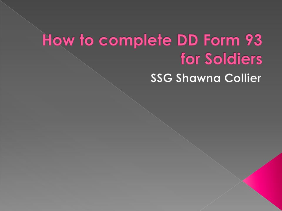 How to complete DD Form 93 for Soldiers