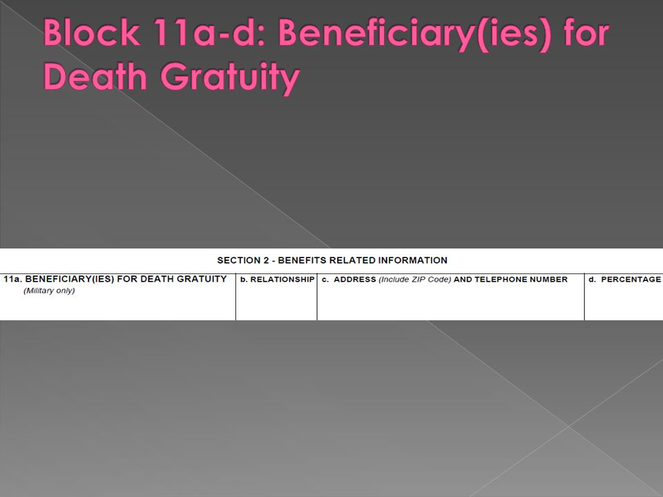 Block 11a-d: Beneficiary(ies) for Death Gratuity