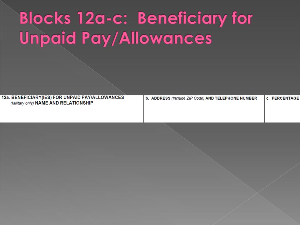 Blocks 12a-c: Beneficiary for Unpaid Pay/Allowances