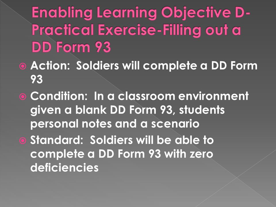 Enabling Learning Objective D-Practical Exercise-Filling out a DD Form 93