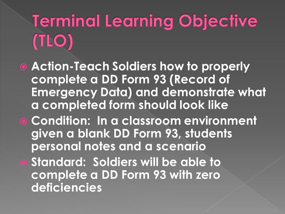 Terminal Learning Objective (TLO)