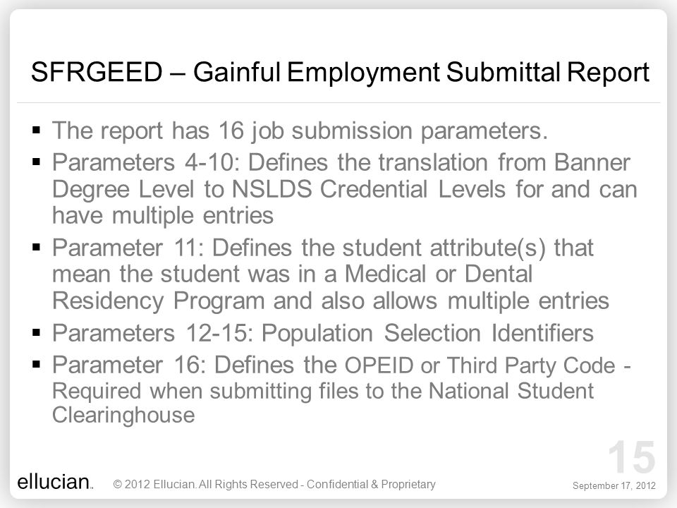 SFRGEED – Gainful Employment Submittal Report
