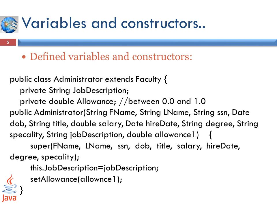 Variables and constructors..